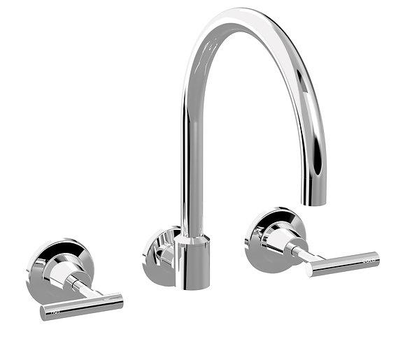 Meno Lever Wall Sink Set Chrome