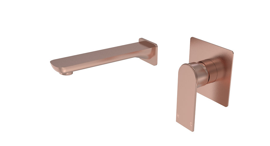 Brunetti Basin Mixer with Spout Brushed Rose Gold