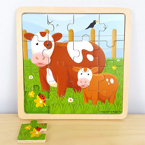 16 Piece Cow Jigsaw with Identical Background (30m+)