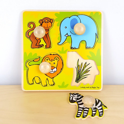 African Animals Food Matching Puzzle (18m+)