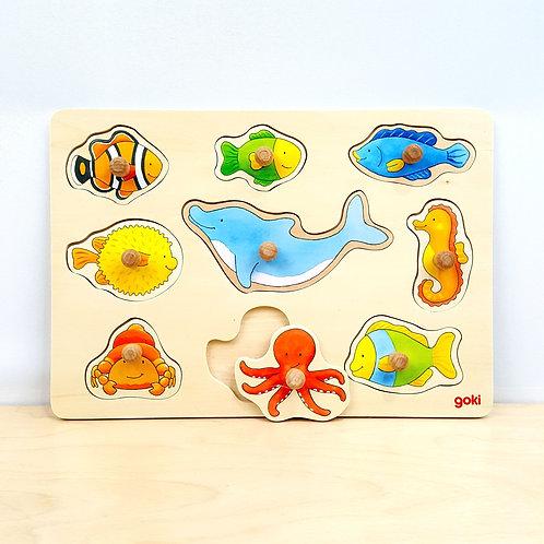 9-Piece Ocean Life Peg Puzzle (24m+)