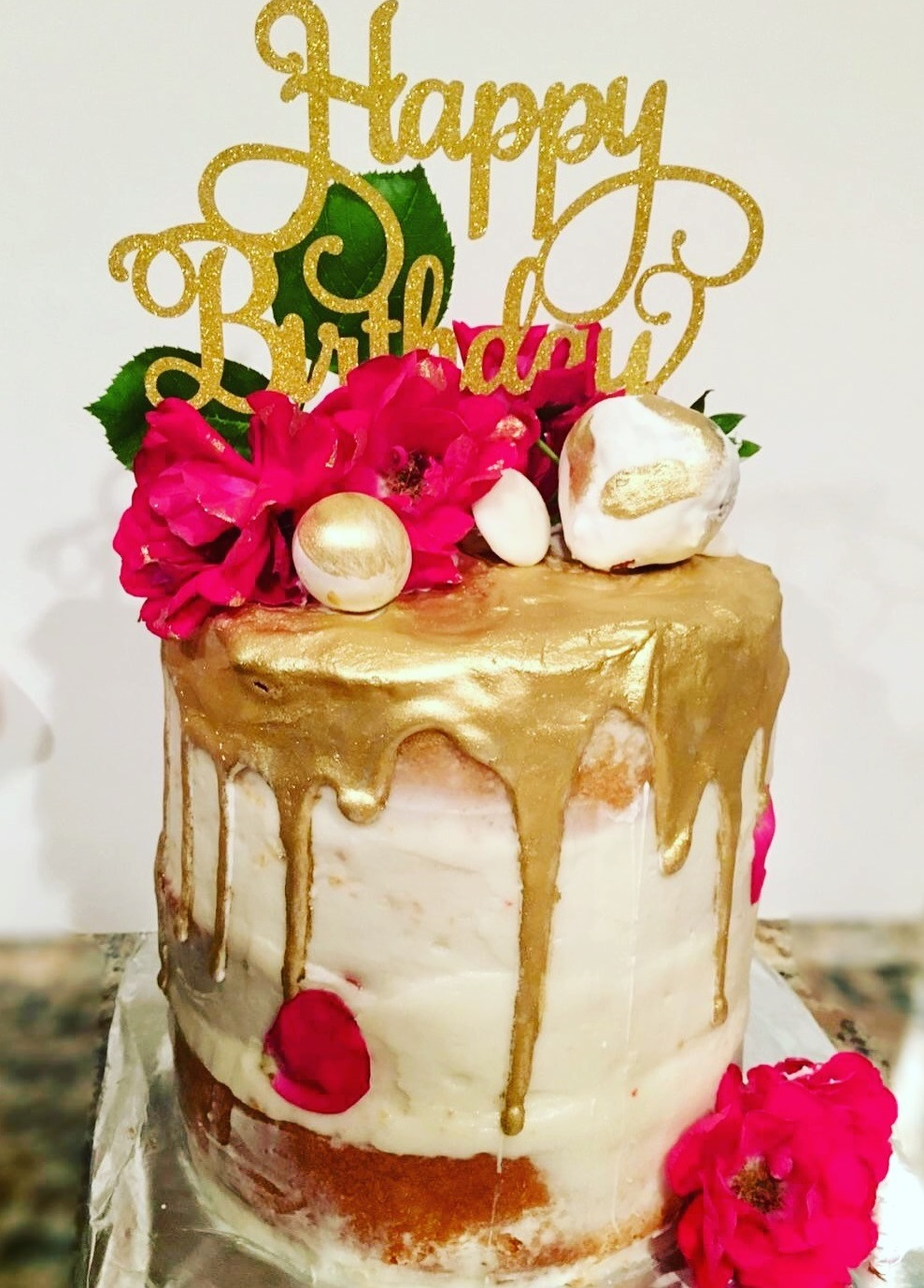 Gold Drip Birthday Cake