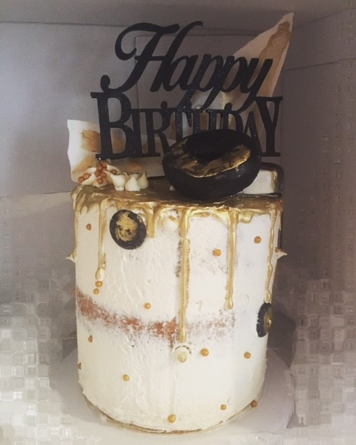 Naked Gold Drip Birthday Cake