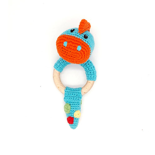 Dinosaur turquoise - Wooden Teething Ring