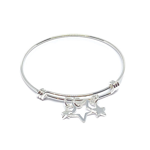 Joanna Star Charm Bangle - Silver