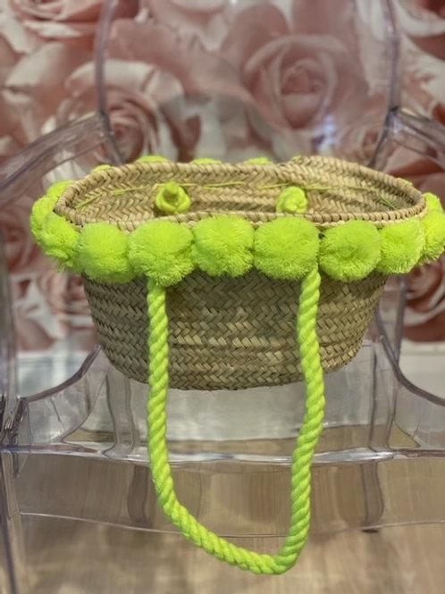 Small Pom Pom Beach Bag-Beach bag-Customized bag-straw bag