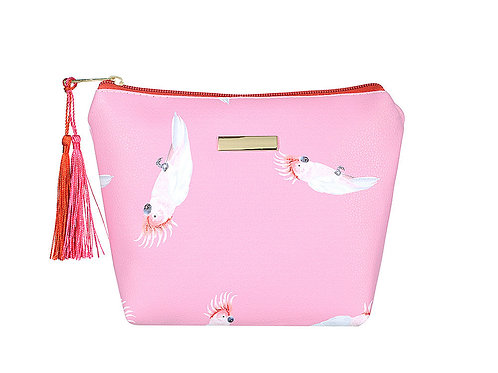 Pink parrot large makeup Bag