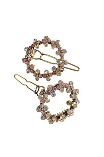 Posy Hair Clip - Set of 2 - A.Brass W/ Pink/AB Crystal