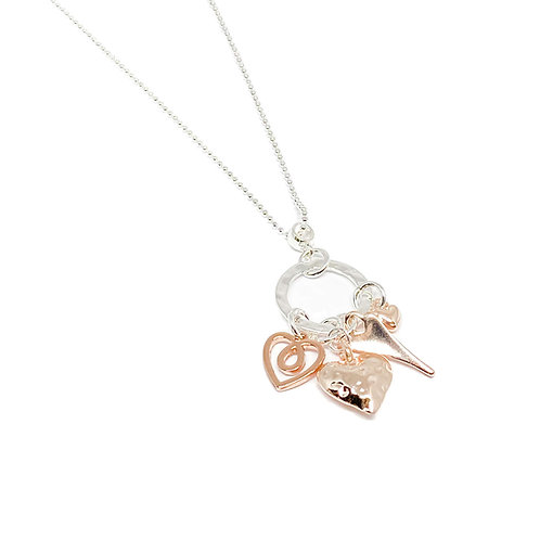 Joanna Heart Charm Necklace - Rose Gold