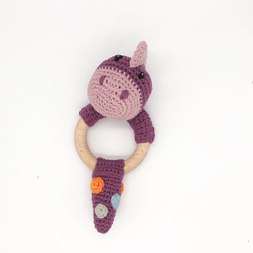 Organic Dinosaur Purple - Wooden teething ring