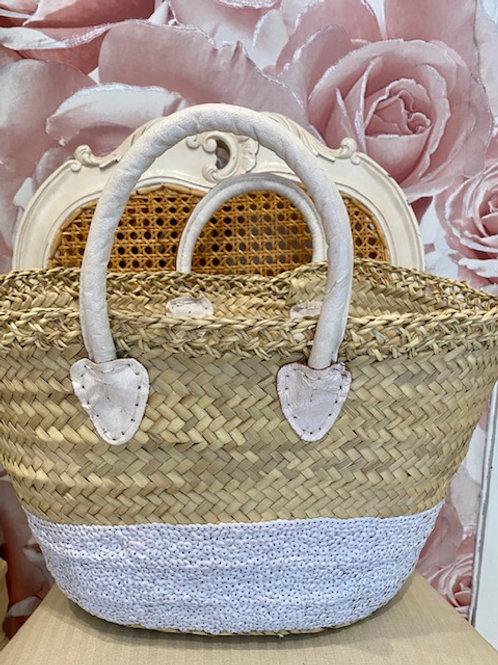 Lattice Sequin Basket White