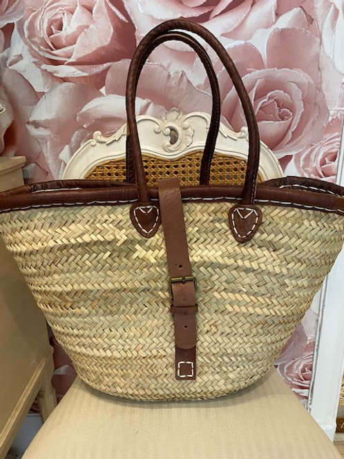 Leather Trim Buckle Basket