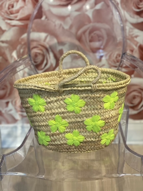 Straw Bag with daisy flowers- Beach bag