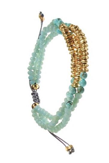 Matt Crystal Beads W/Friendship Tie - Turq