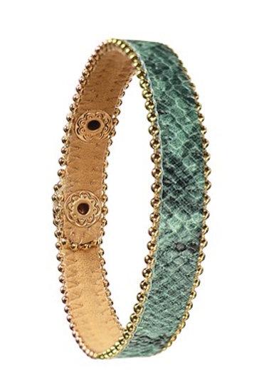 B - aux Snake PU W/Beaded Chain Trim - Azure