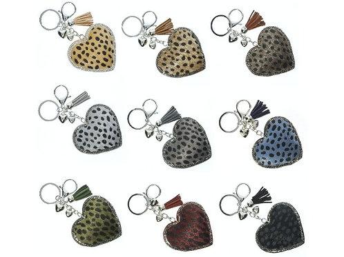 Leopard Heart Key Rings