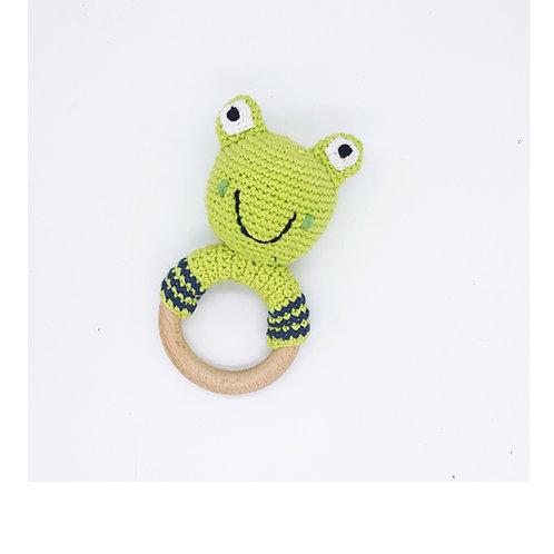 Frog Green - Wooden teething ring