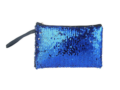 Blue and silver sequin flat makeup bag