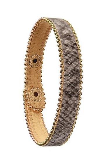 B - Faux Snake PU W/Beaded Chain Trim - Grey