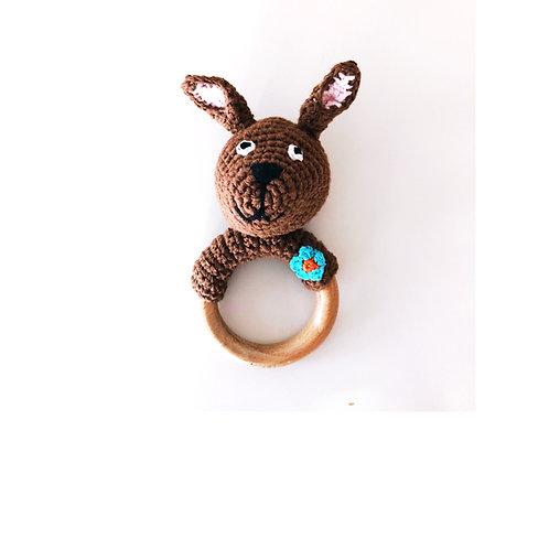 Kangaroo - Wooden teething ring