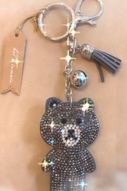 Grey Sparkle Teddy Bear Key Ring