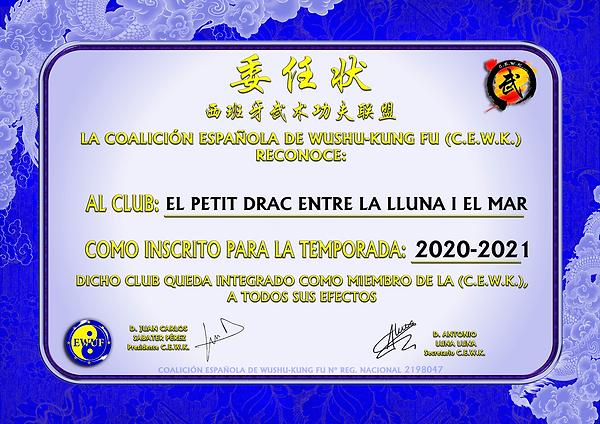 CERT CLUB EL PETIT DRAC ENTRE LA LLUNA I