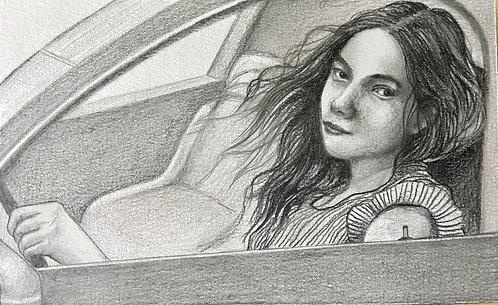 On the steering wheel