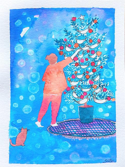 """""""Masks at the tree"""" Christmas Art"""