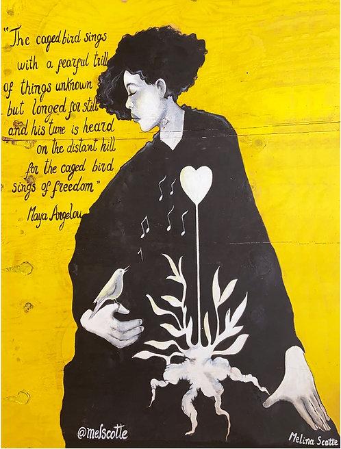 "Print of Mural ""Caged Bird"" Maya Angelou"