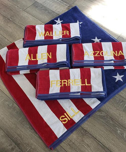 Red white and blue beach towels