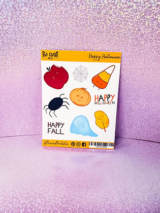 Happy Halloween Characters | Halloween Stickers | Sticker Sheet | Small