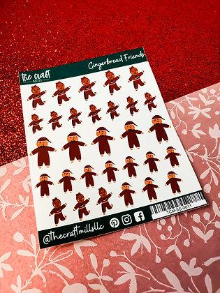 Gingerbread Friends | Christmas | Sticker Sheet | Small