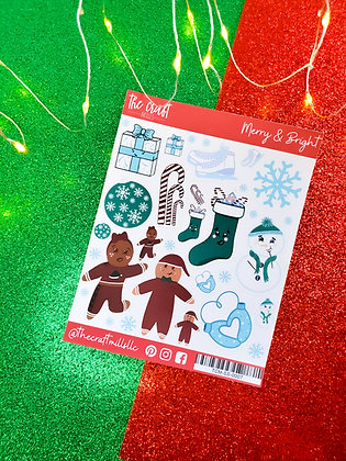 Merry and Bright | Christmas Sticker Sheet | Large