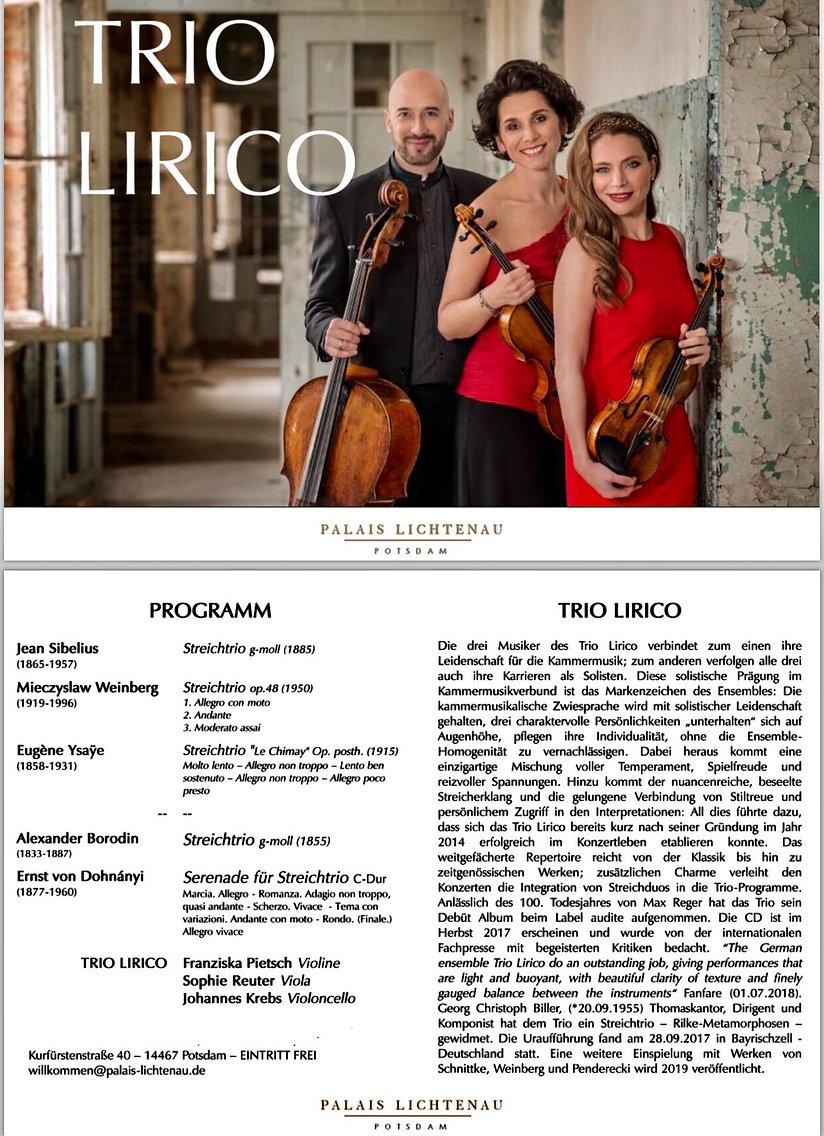 Trio Lirico, Konzert am 8. Juni 2019 in Postdam, Palais Lichtenau