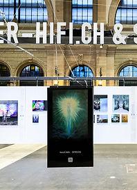 "Nasrah Nefer's Painting ""Befreiung"" on Screen in Art Expo Zürich, Swizzerland"