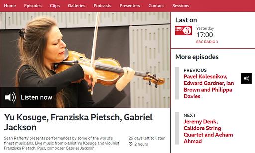 BBC Radio 3 - In Tune, Yu Kosuge, Franzi