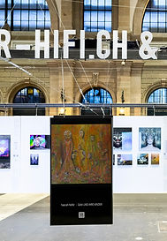 """Nasrah Nefer's Painting """"Gaia and her Children"""" on Screen in Art Expo Zürich, Swizzerland"""