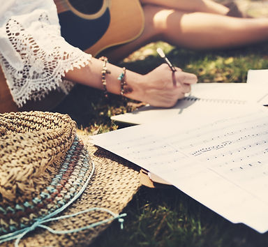 Hippie Musician Songwriter Writing Conce
