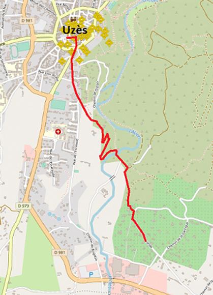 Carte du chemin pour aller à pied à Uzès