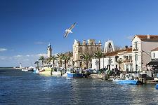 Image de très joli canal du Grau du roi avec ses bateaux amarrés près à partir pour une campagne de pèche