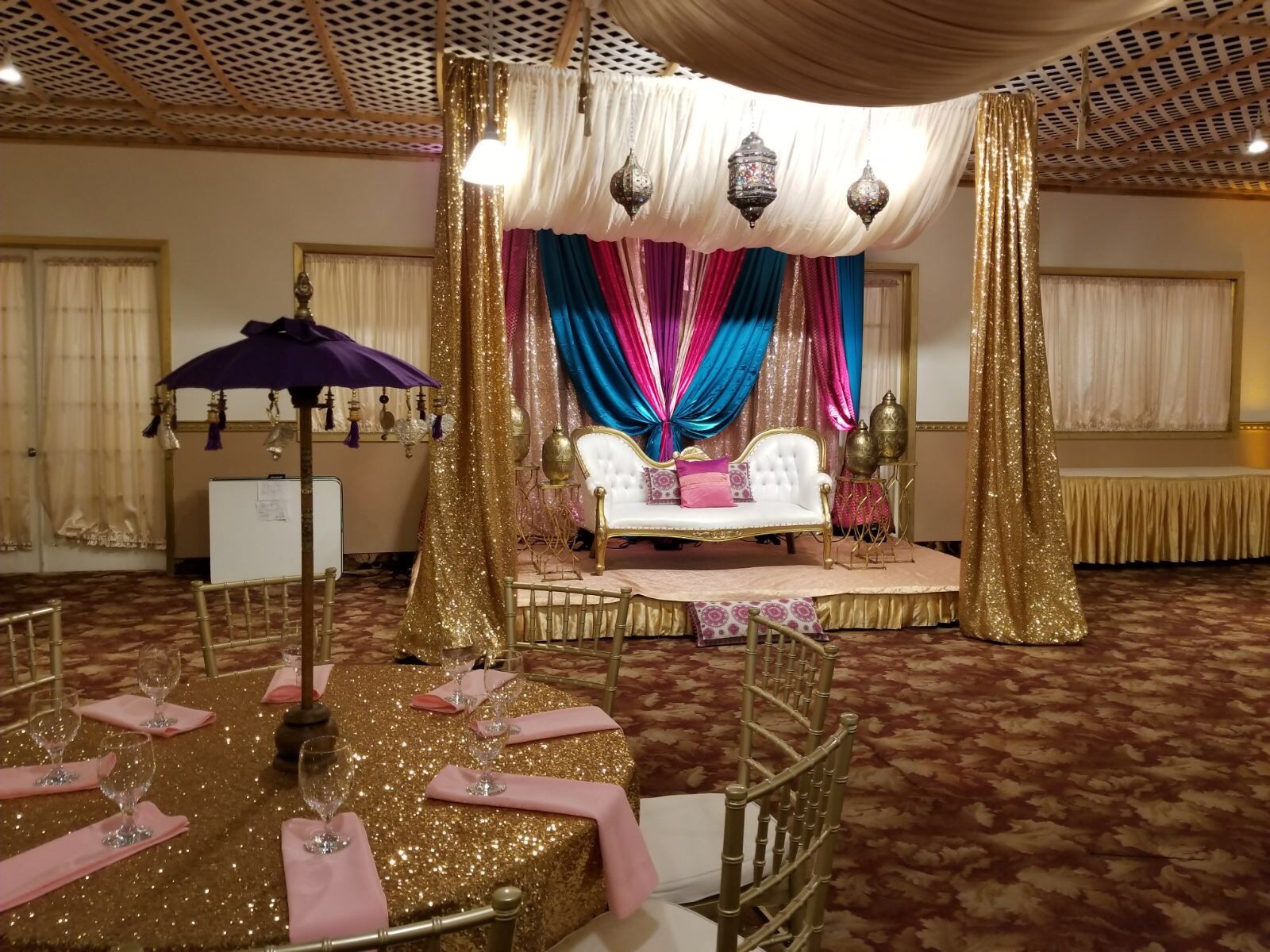 Indian Wedding Sangeet, Jago & Reception Decor