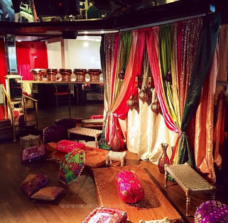 Low Floor Seating, Colorful Backdrop, Sangeet & Indian Wedding Decorations at Bombay Garden, Newark California