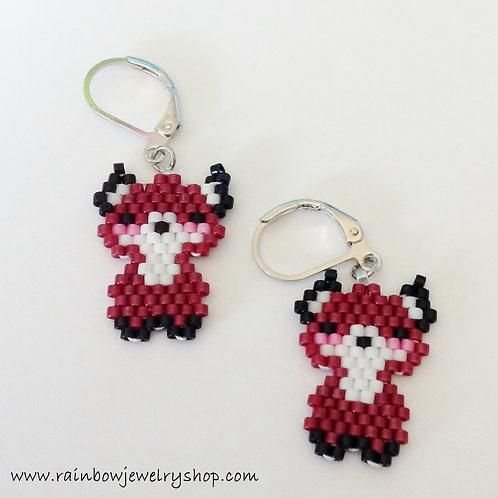 Beaded Fox Earrings