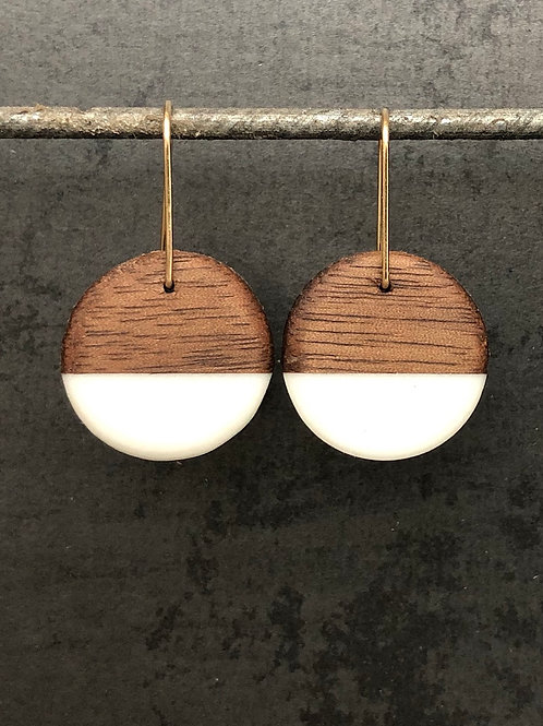 BDJ Small Rounder Walnut Earrings with White Resin