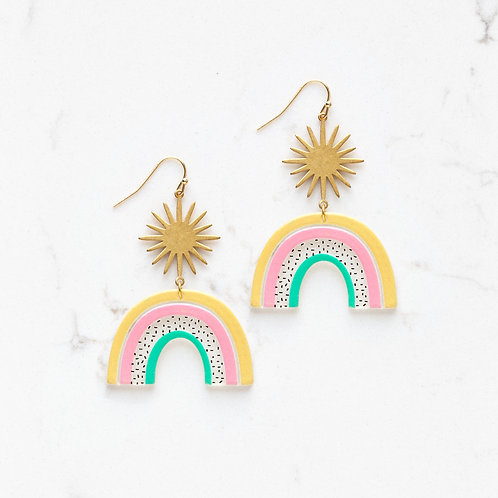 Stitch and Stone Starburst Rainbow Dangle Earrings