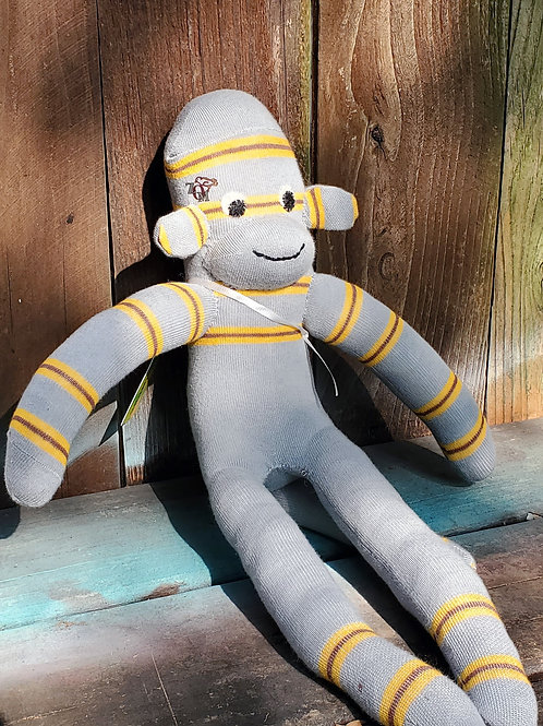 Monkey Business Gray/Yellow Striped Sock Monkey