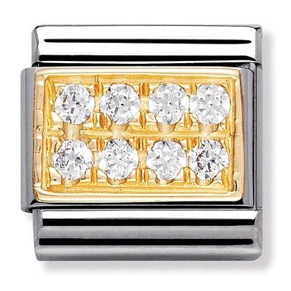 Nomination altın detaylı taşlı charm