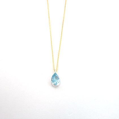 Mavi topazlı altın kolye