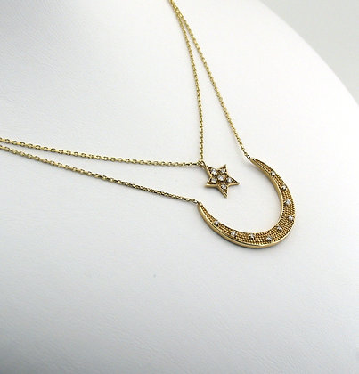 Marie Claire Altın Ay yildiz kolye
