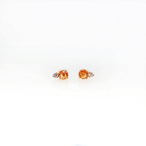 Aretes Zafiro Naranja y Diamante 14K